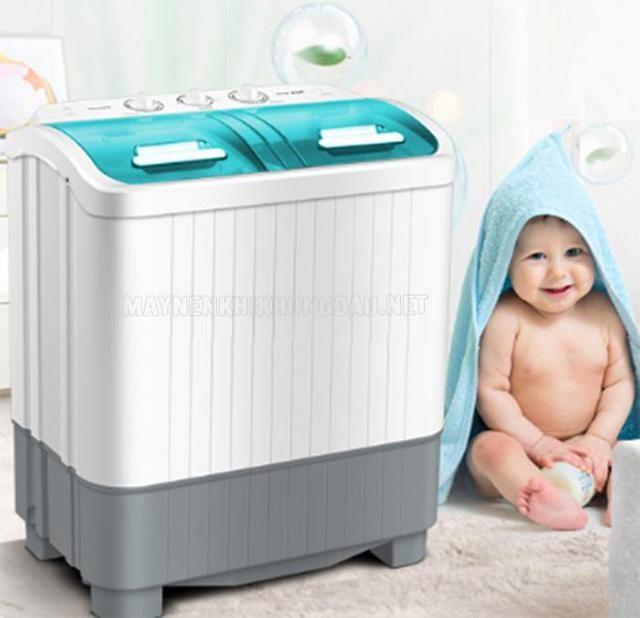 Máy giặt nhỏ 4kg hai lồng cho sinh viên.