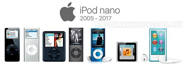 Các thế hệ máy nghe nhạc iPod nano.