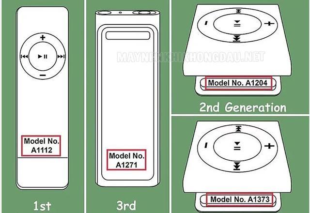 Cách phân biệt các thế hệ máy nghe nhạc iPod Shuffle.
