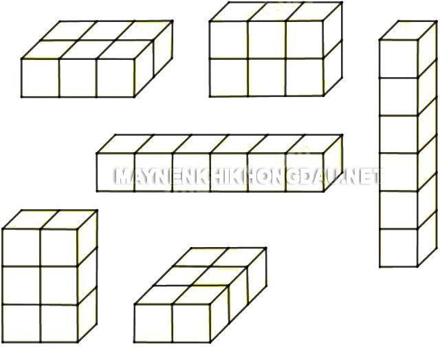 Sắp xếp 6 hình lập phương nhỏ thành 1 hình hộp chữ nhật