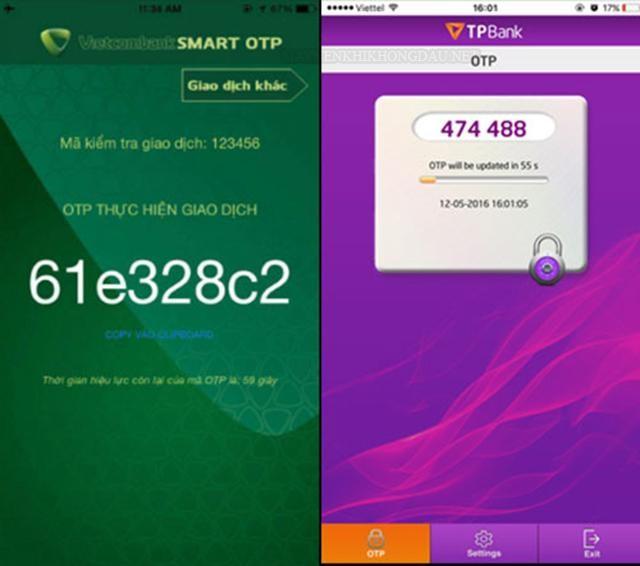 Ảnh mô tả mã Smart otp của Vietcombank và TP Bank
