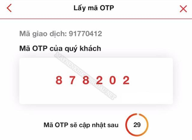 Lấy mã OTP